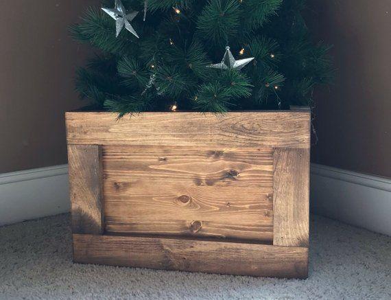 Folding Slim Tree Christmas Tree Box Stand Wood Tree Skirt Etsy Christmas Tree Box Stand Christmas Tree Box Wood Christmas Tree