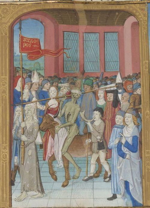 Bibliothèque nationale de France, Français 1654, detail of f. 171r. Pierre Michault, Le Doctrinal rural and La danse aux aveugles. 1466