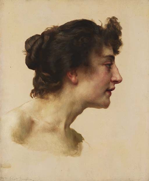 ~ Musings of an Artist: Studie of the Head of Elize Brugière by William Bougeaureau