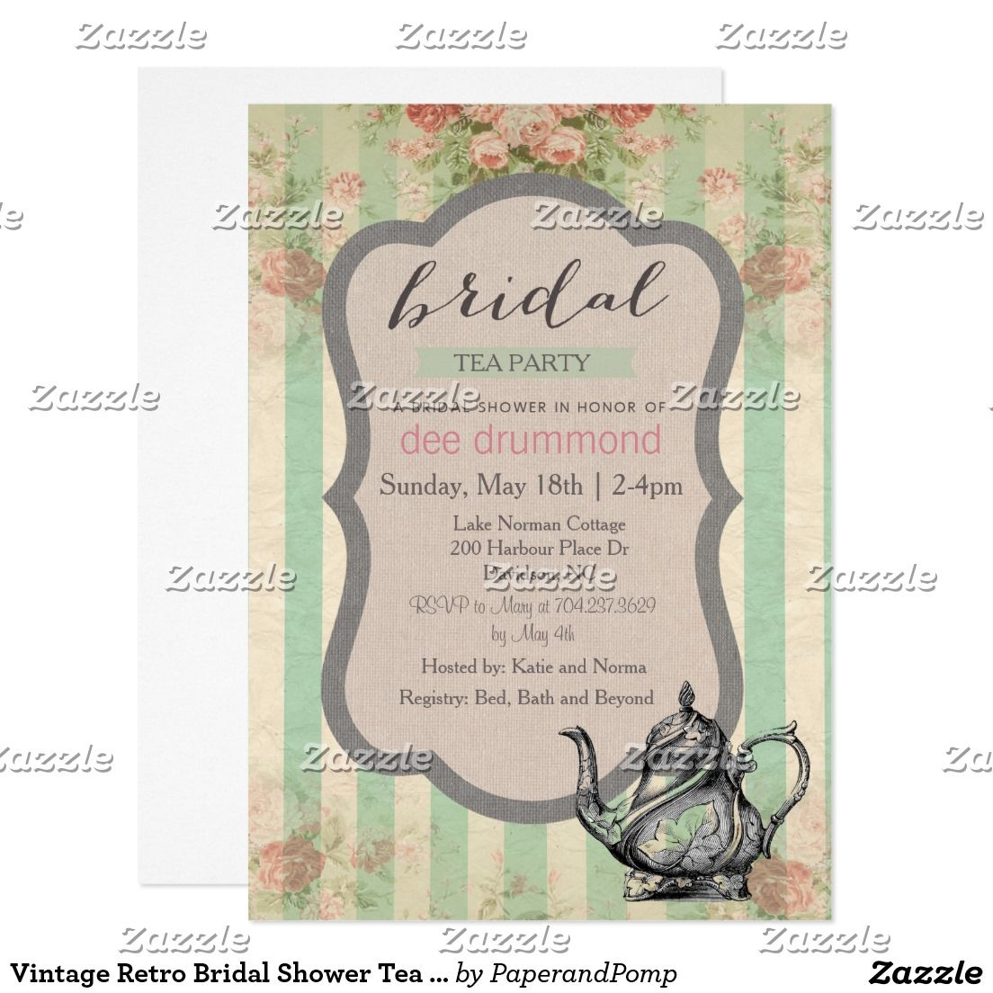 Vintage Retro Bridal Shower Tea Party Invitation Tea Party