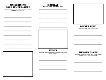 this is a brochure template for a fourth grade adaptations research projectupdated to include a rubric on the back panel