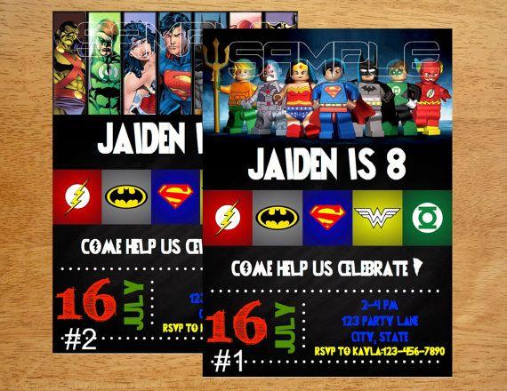 Justice league birthday invitation digital file by munchdoodles cj justice league birthday invitation digital file by munchdoodles stopboris Images