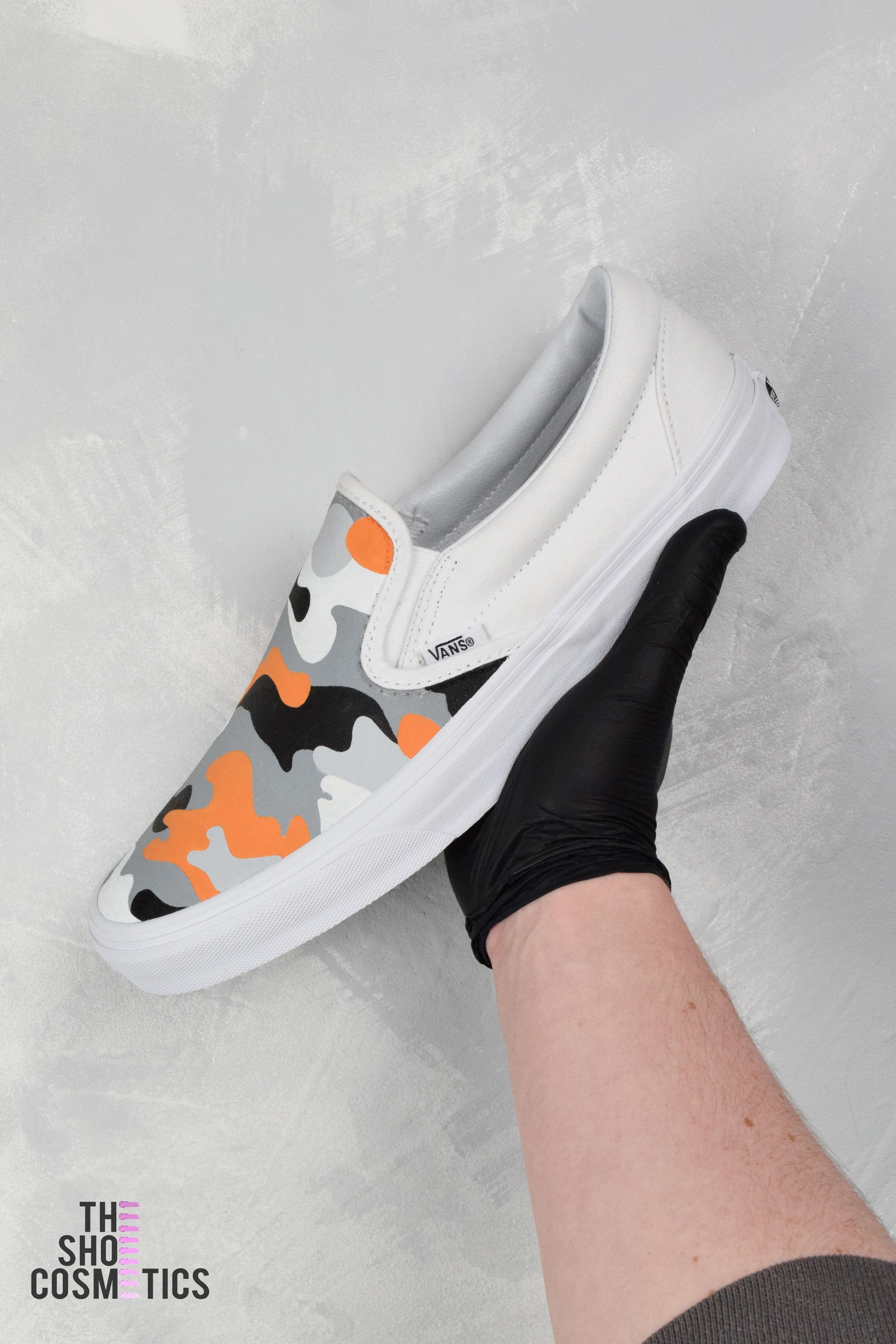 Tangerine camouflage slip on vans custom shoes | Shoes in