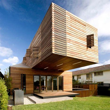 wood facade   ... of us never see the incredible cantilevered ...