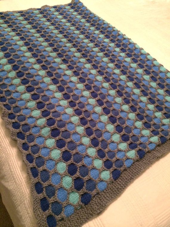 Honeycomb Pattern Knitted Blanket by OurKnottyBits on Etsy ...