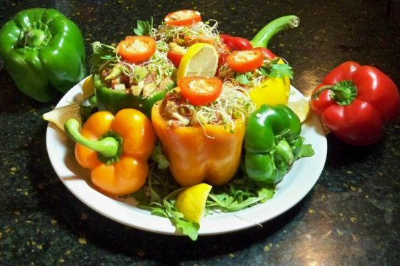 Rainbow stuffed peppers a raw food recipe by susan smith jones rainbow stuffed peppers a raw food recipe by susan smith jones forumfinder Choice Image