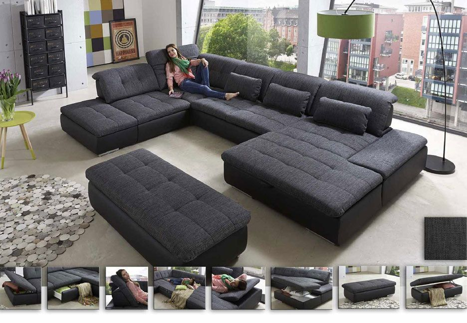 Großartig Dark Grey Modern Sectional With Chaise And Ottoman.