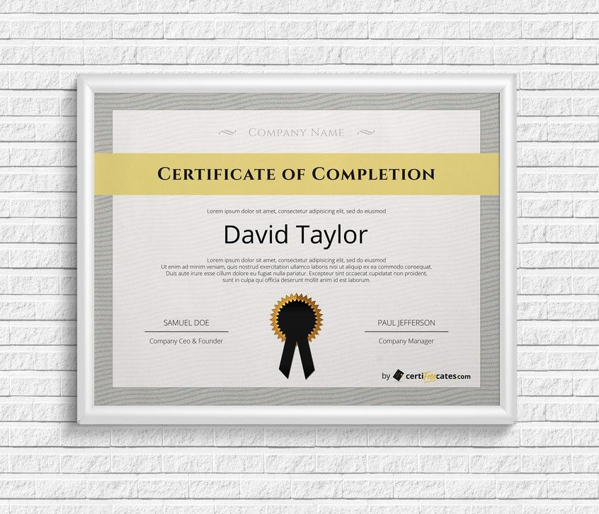 Free Certificate Of Completion Certificate Of Completion