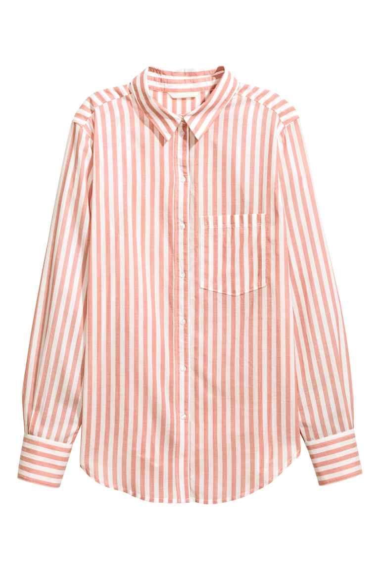 Camisa de algodón - Rosa empolvado Rayas - MUJER  1452b124708e