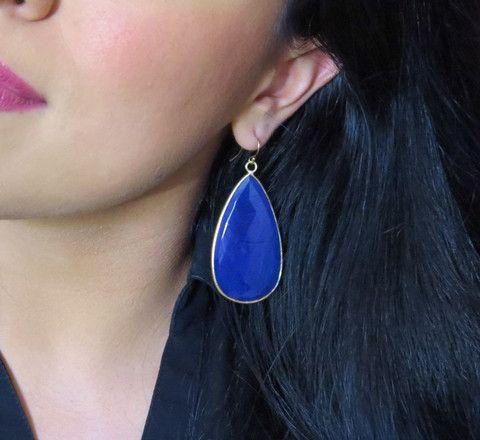 Large Cobalt Blue Celebrity Earrings, Gold Fill