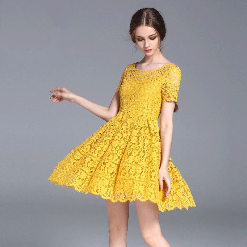 Cheap Dresses, Buy Directly from China Suppliers: yellow lace mini dress  short sleeve o necklace young girls party dresses femme bodycon lolita  korea ...