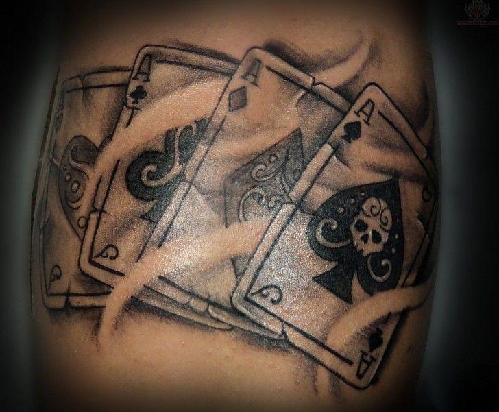 Elegant Four Ace Card Tattoos Lined Podanza Card Tattoo Card Tattoo Designs Gambling Tattoo