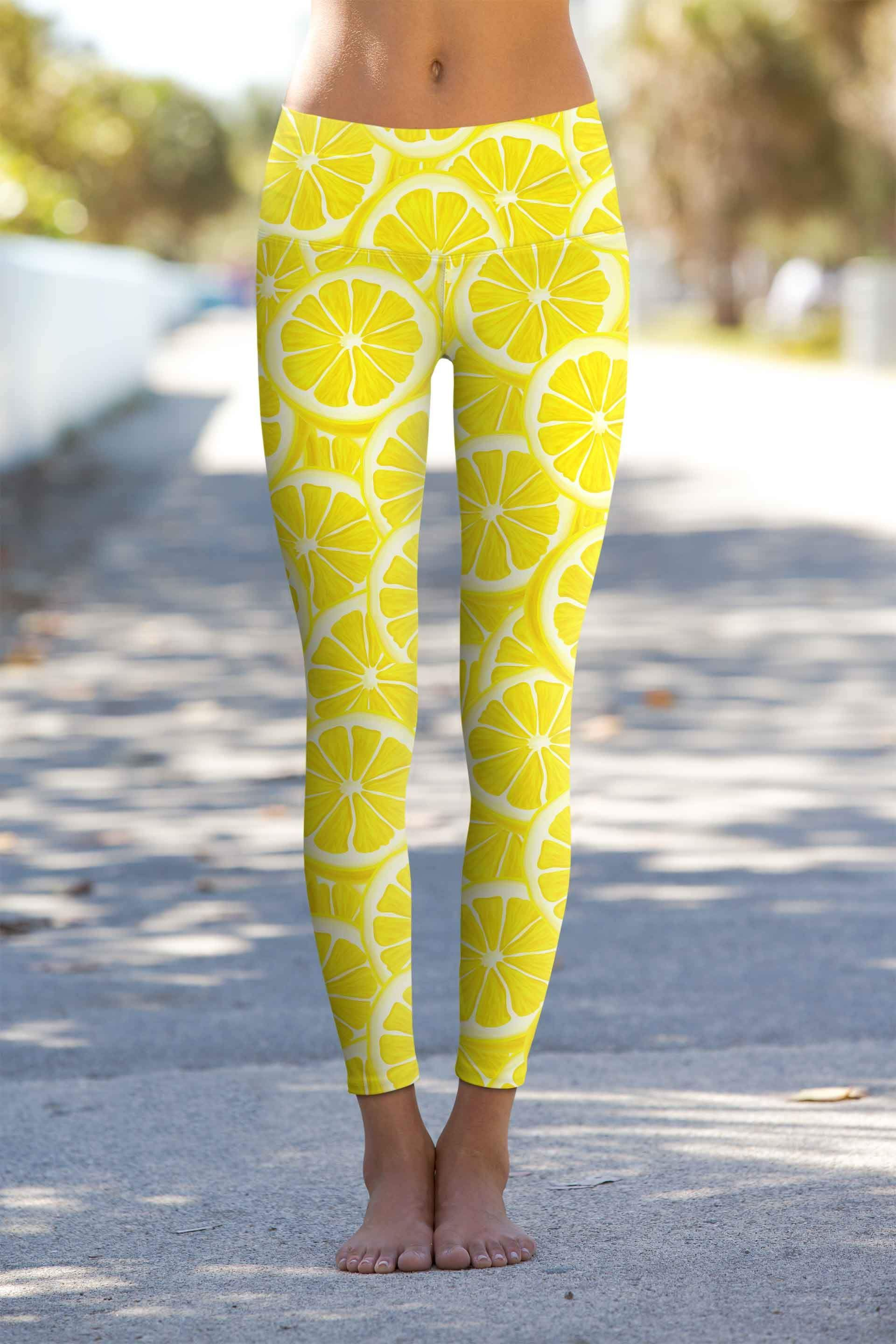 fc0b6968c90 A Piece of Sun Lucy Yellow Lemon Print Leggings Yoga Pants - Women ...