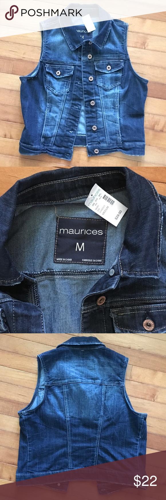 NWT Denim Vest NWT Denim Vest. Medium. Dark denim with lighter color distressing, but no holes. Maurices Jackets & Coats Vests