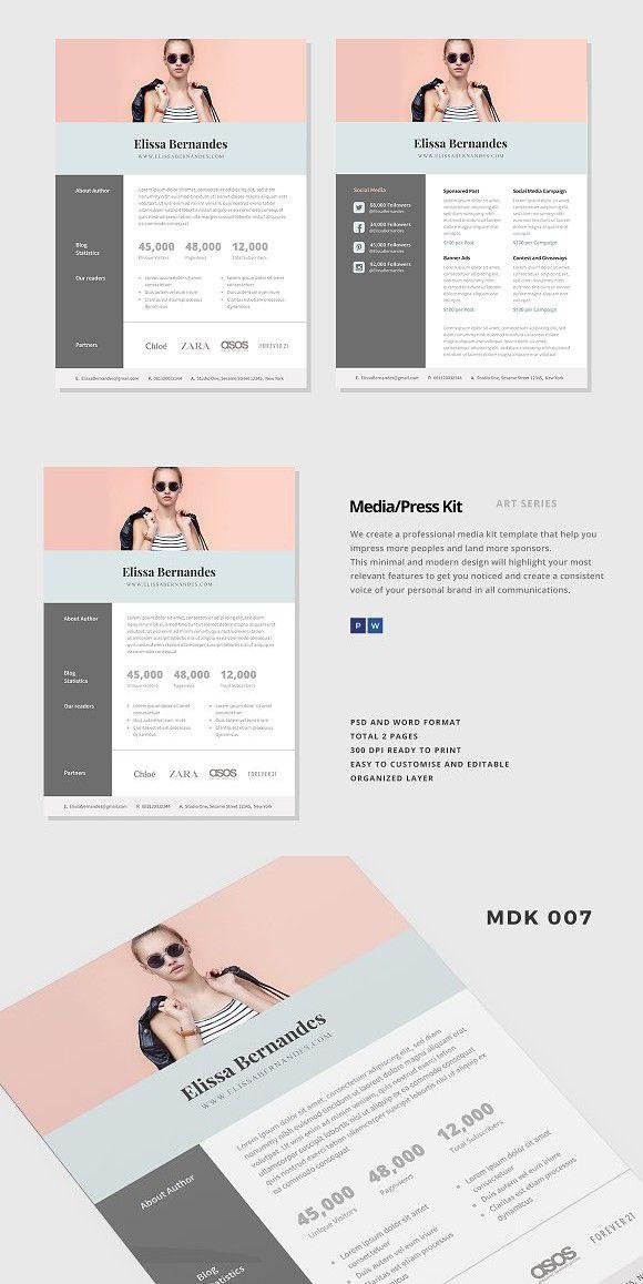 Blog Media Kit Template - 2 Page | Pinterest | Media kit, Media kit ...