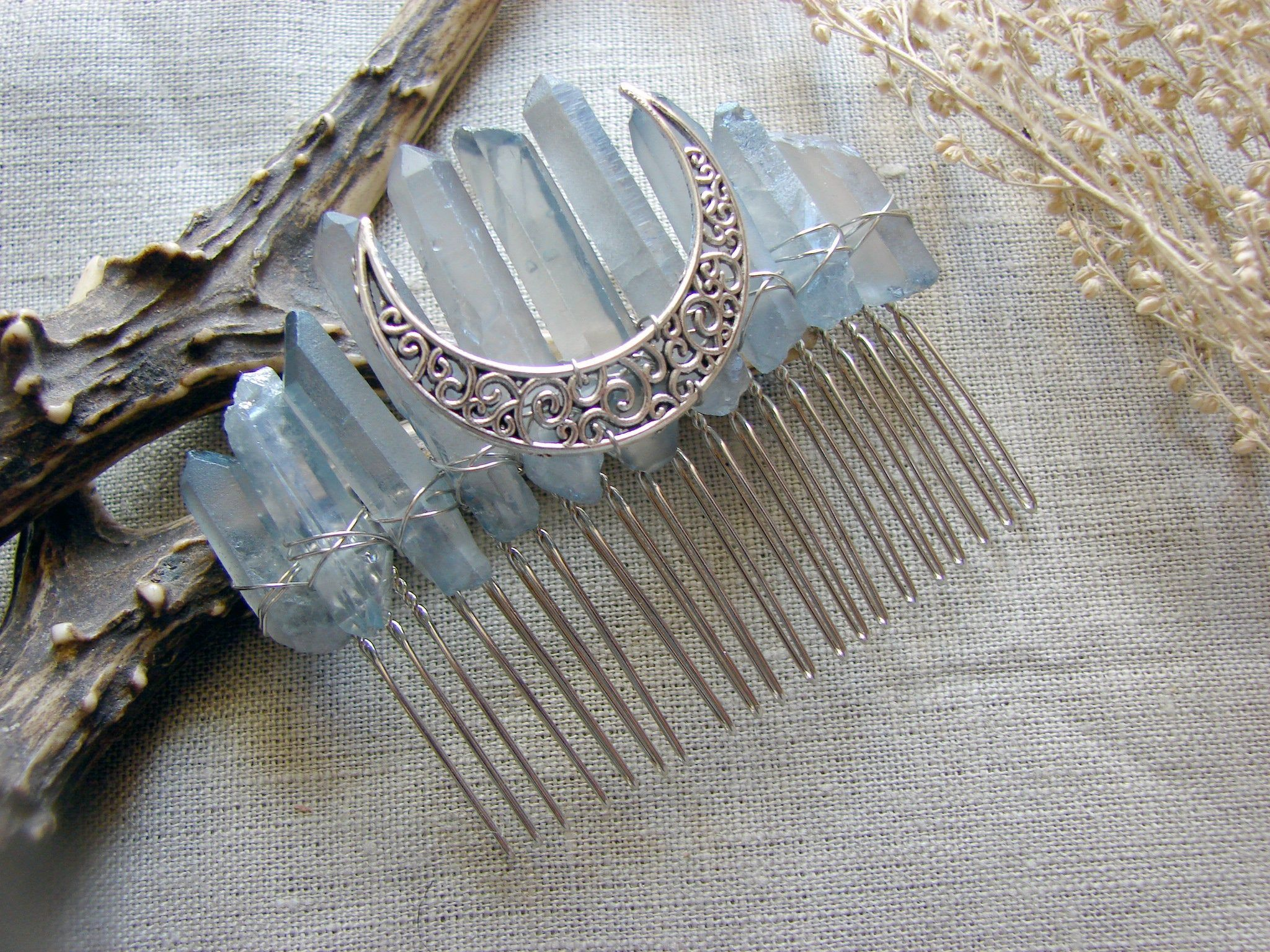Titanium Quartz raw ghost blue gray Crystal Crescent Moon hair pin side comb high priestess Bridal Crown Tiara Wedding veil witch gothic