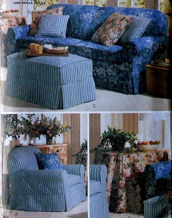 Slipcovers Sewing Pattern UNCUT Butterick 5293 Waverly sofa chair ...