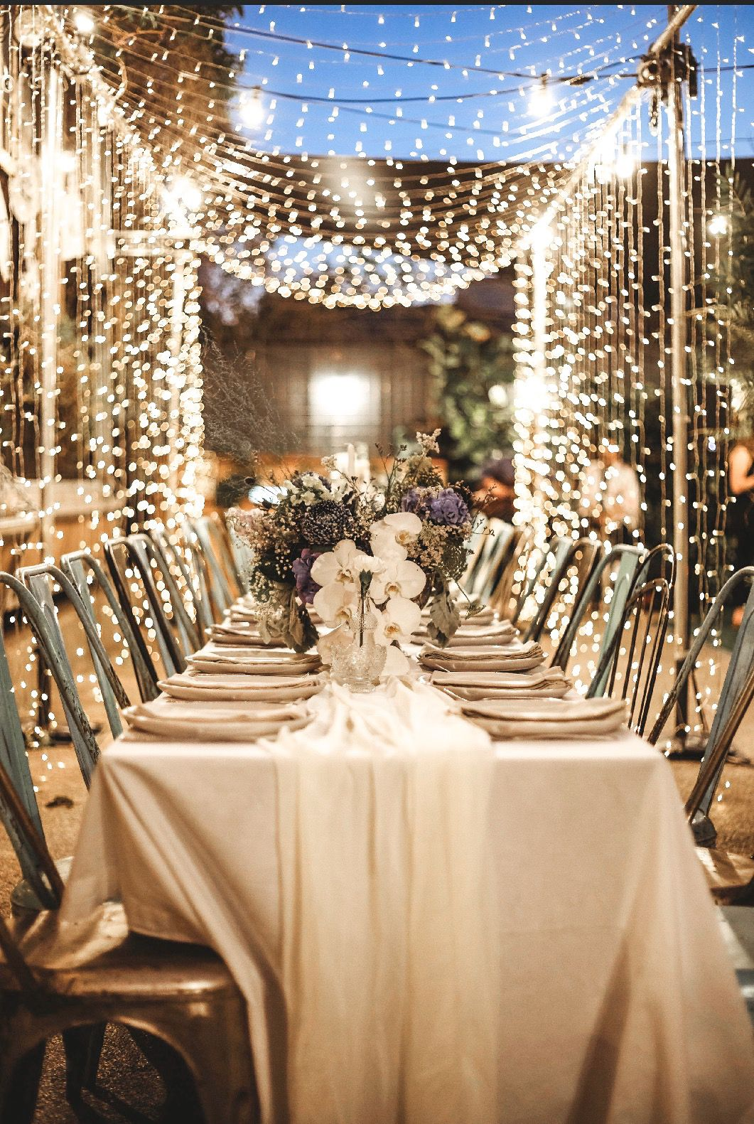 Fairy Light Wedding Dining Setting Brisbane Based Wedding