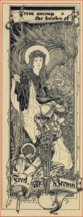 Bookplate of Fred. W. Brown by Charles Robinson, 1897