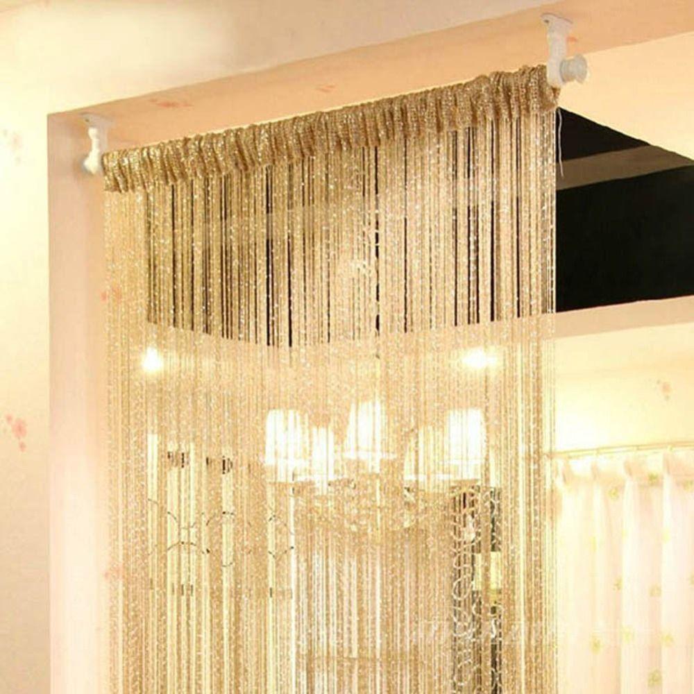 Curtain New Style Silver Silk Curtain Living Room Door Window