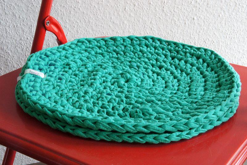 2 Gehäkelte Runde Sitzkissen ø 32 Cm In Türkis Crochet Haekeln