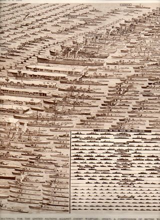 Illustration of every British ship lost in World War II (contrasted with World War I)