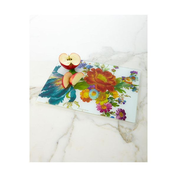 Mackenzie-Childs Flower Market Cutting Board ($25) ❤ liked on Polyvore featuring home, kitchen & dining, kitchen gadgets & tools, tempered glass cutting board and dishwasher safe cutting board