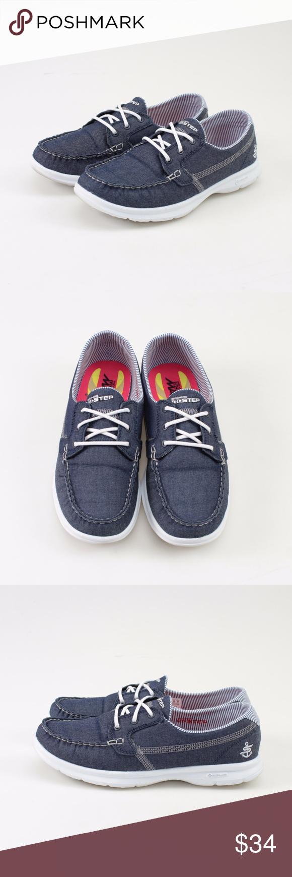 Skechers GO STEP Boat Shoes // Indigo