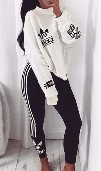 f051c9502c0e black adidas striped joggers + over-sized white crew neck sweatshirt l cute  casual leggings outfits l  adidas  casualstyle