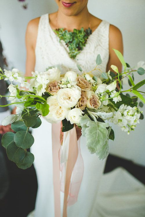 Columbus Ohio Wedding Inspiration Bouquet and Succulent necklace by Bear Roots Floral
