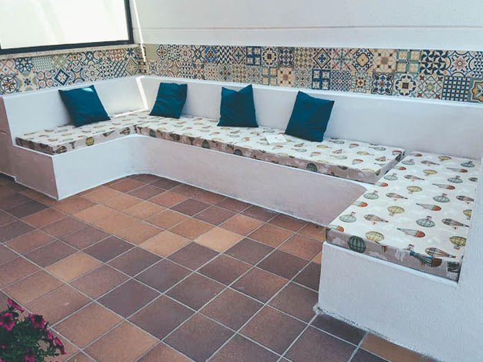 Decorar terraza bancada 12cc terrazas pinterest for Baldosas para terraza baratas