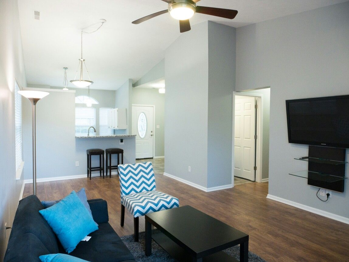 wall color is behr frosted silver in eggshell floors are home