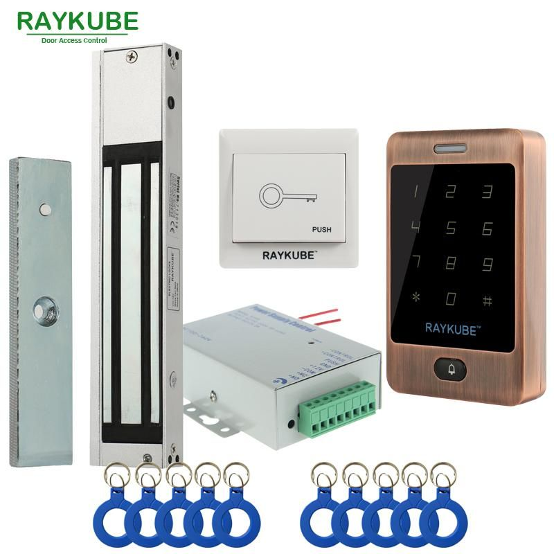 Raykube Door Access Control System Kit 180kg 280kg Electric Magnetic Lock Metal Touch Frid Keypad Exit Button Access Control Access Control System Magnetic Lock