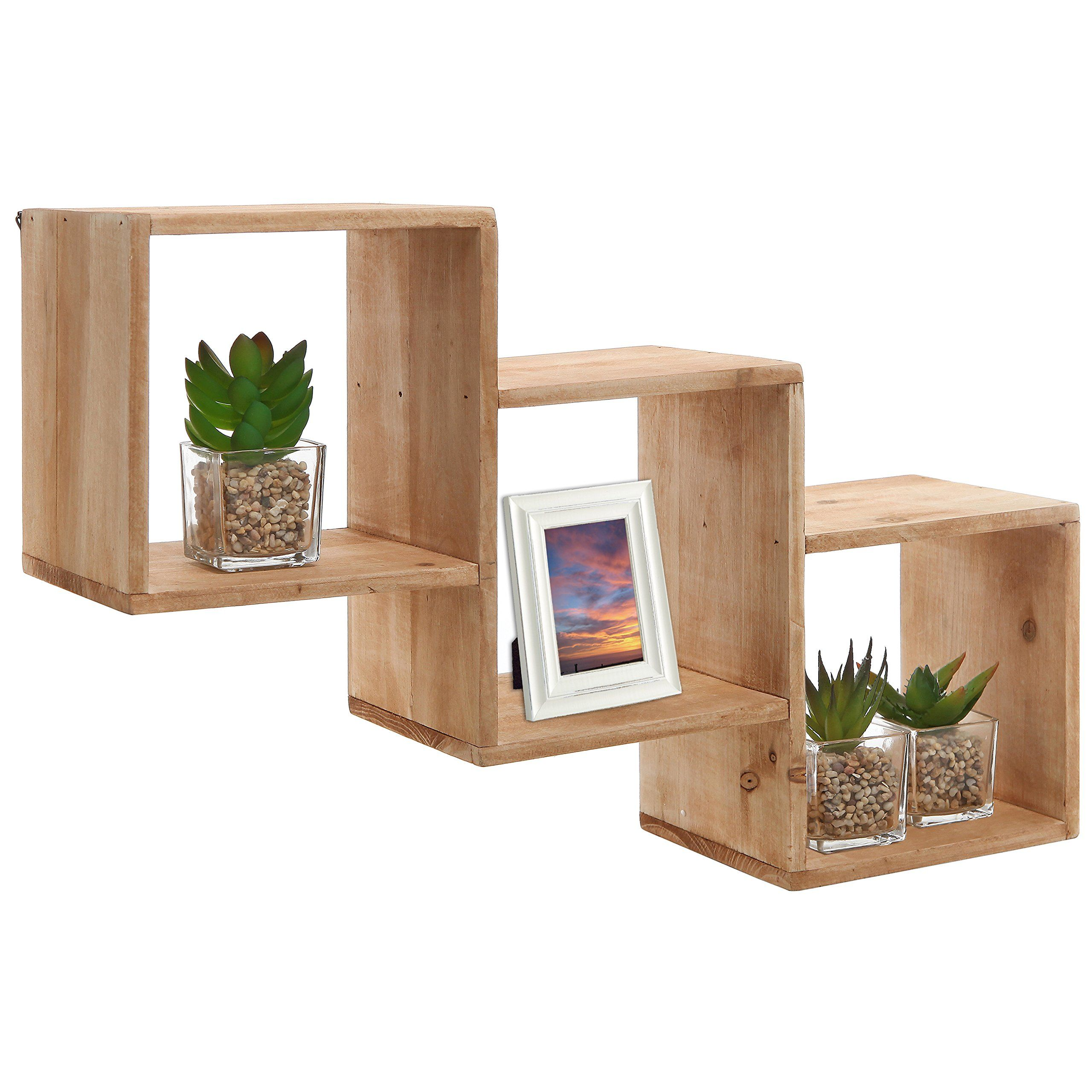 Functional wall decor by nexxt cubbi accent wall shelves set of amazon country rustic wall mounted unfinished natural wood square diagonal storage shelves rack amipublicfo Image collections