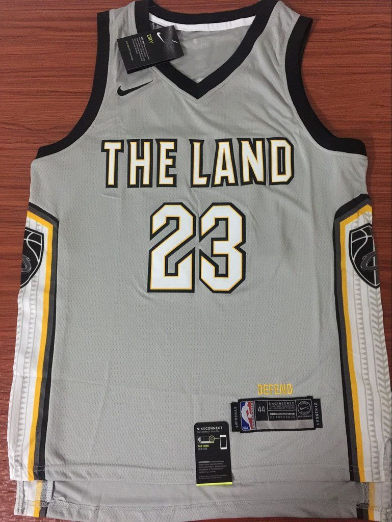 Men 23 Lebron James the Land Jersey Gray Cleveland Cavaliers City Edition ac9a1ceb9