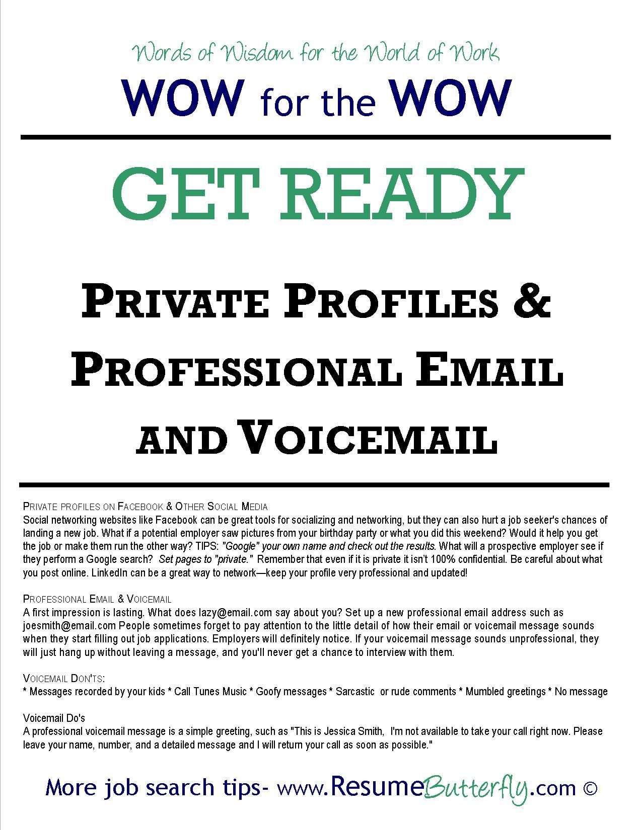 Job Search - GET READY: Private Profiles & Professional Email and ...