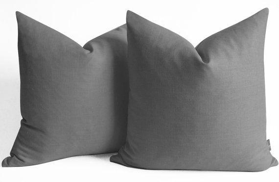NEW 14 16 18 20 22 24 26  Linen pillow cover dark grey door sukanart