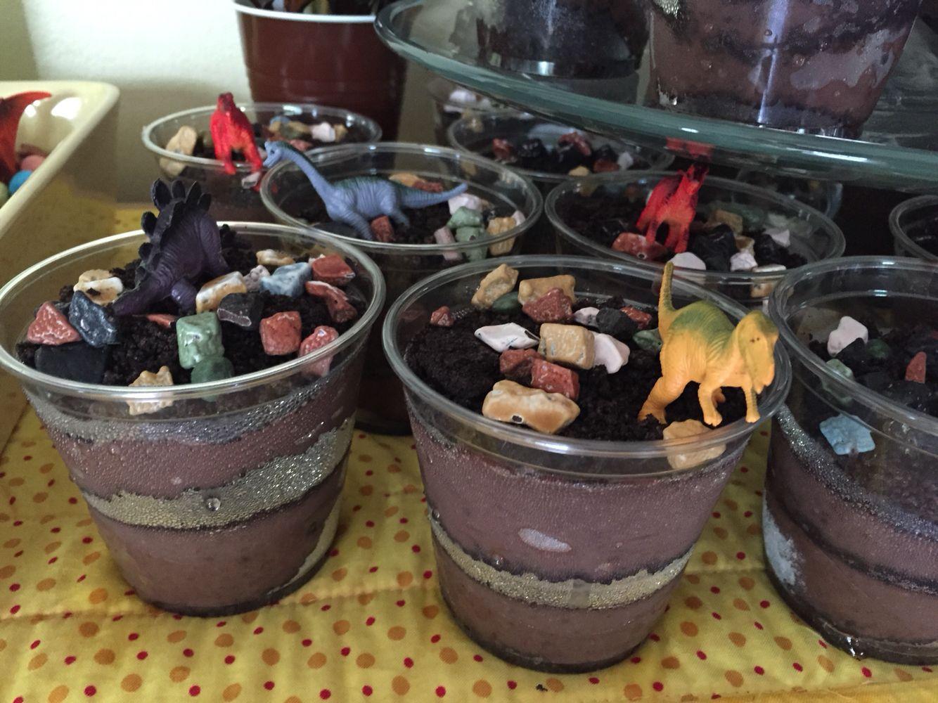 Dinosaur Dirt Cups--chocolate pudding, crushed Oreos, chocolate ...