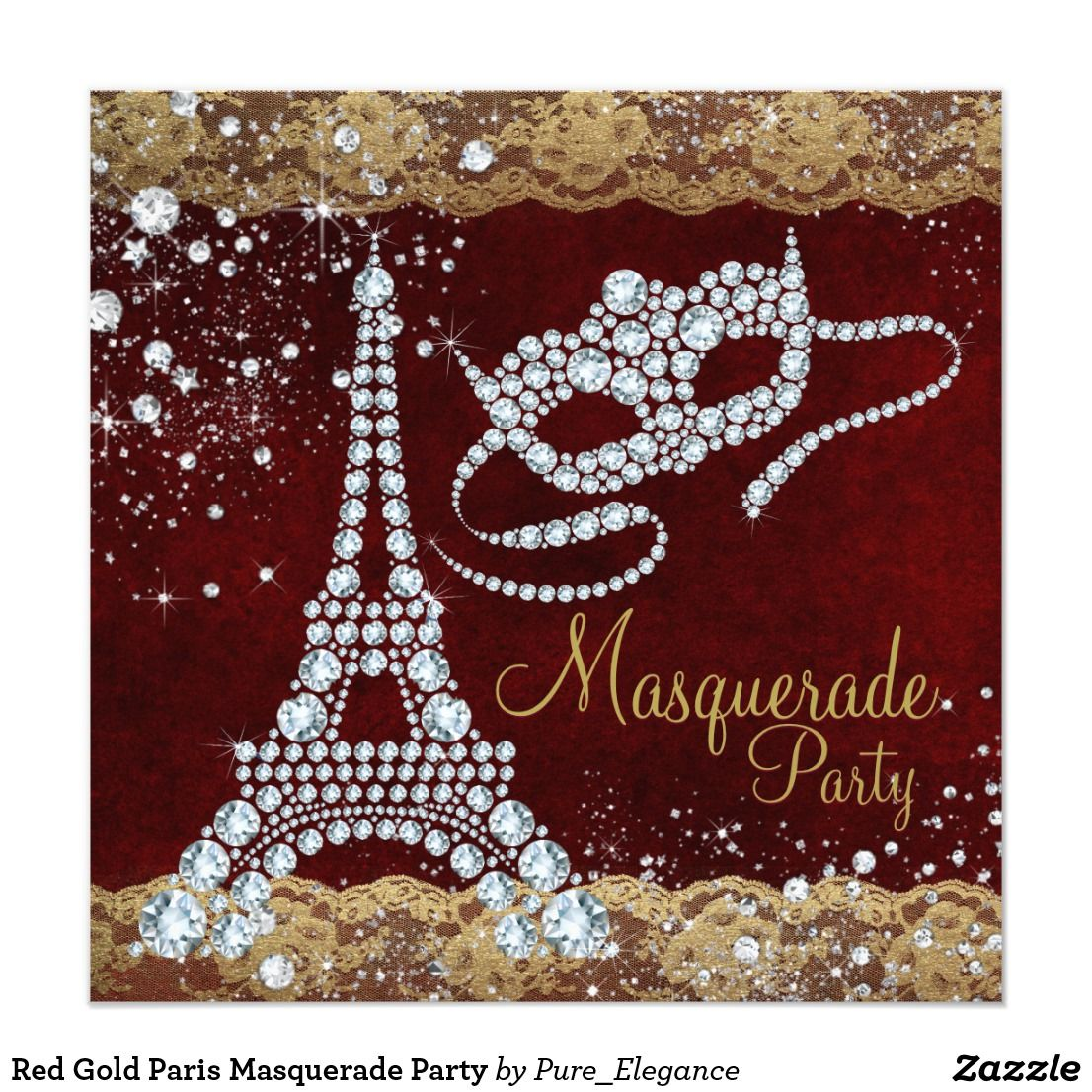 Red Gold Paris Masquerade Party Invitation | Pinterest | Masquerade ...