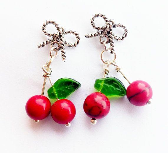 Boucles d'oreilles cerises argentées noeud bijoux par peeno123