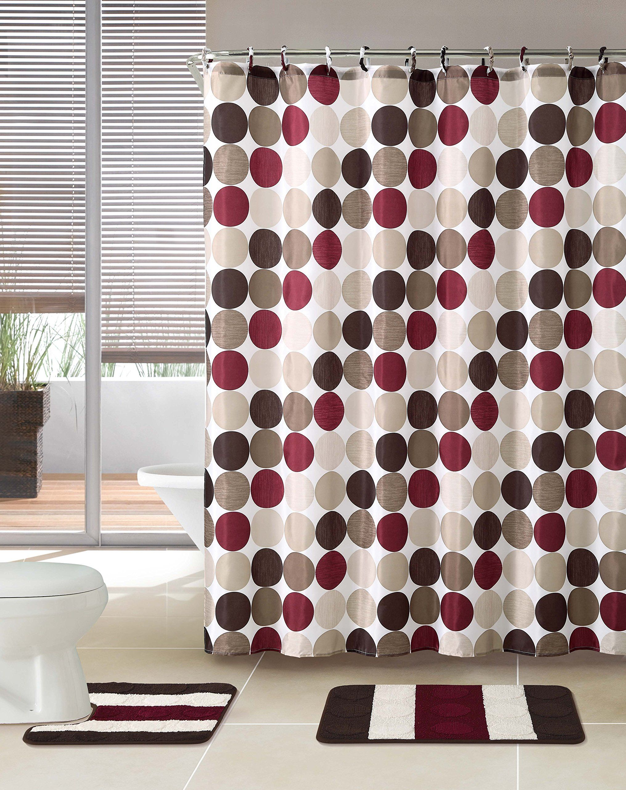 3 Piece Bath Rug Set W Shower Curtain And Matching Rings Brown