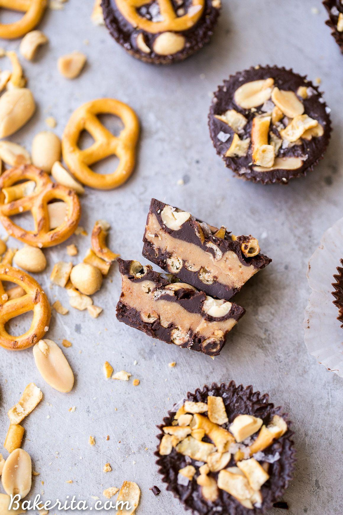 Chocolate Peanut Butter Pretzel Cups Gluten Free Vegan