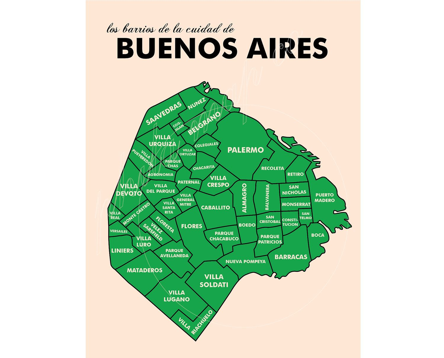 Buenos Aires Neighborhood Map Etsy Buenos Aires The Neighbourhood Map