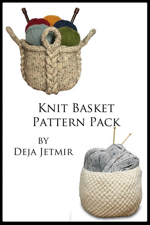 Knitting Pattern ~ Knit Basket Pattern Pack ~ Knitting Pattern ...