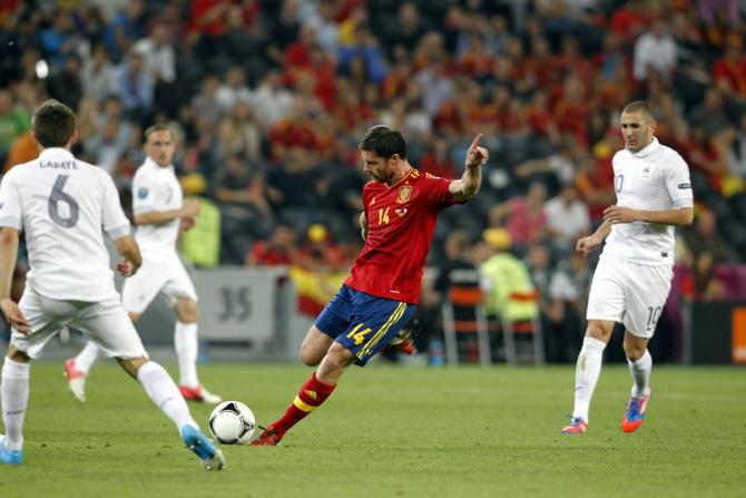 Alonso, durante el España-Francia de la Eurocopa 12, partido en el que cumplió las cien internacionalidades. #seleccionespanola #LaRoja #diariodelaroja