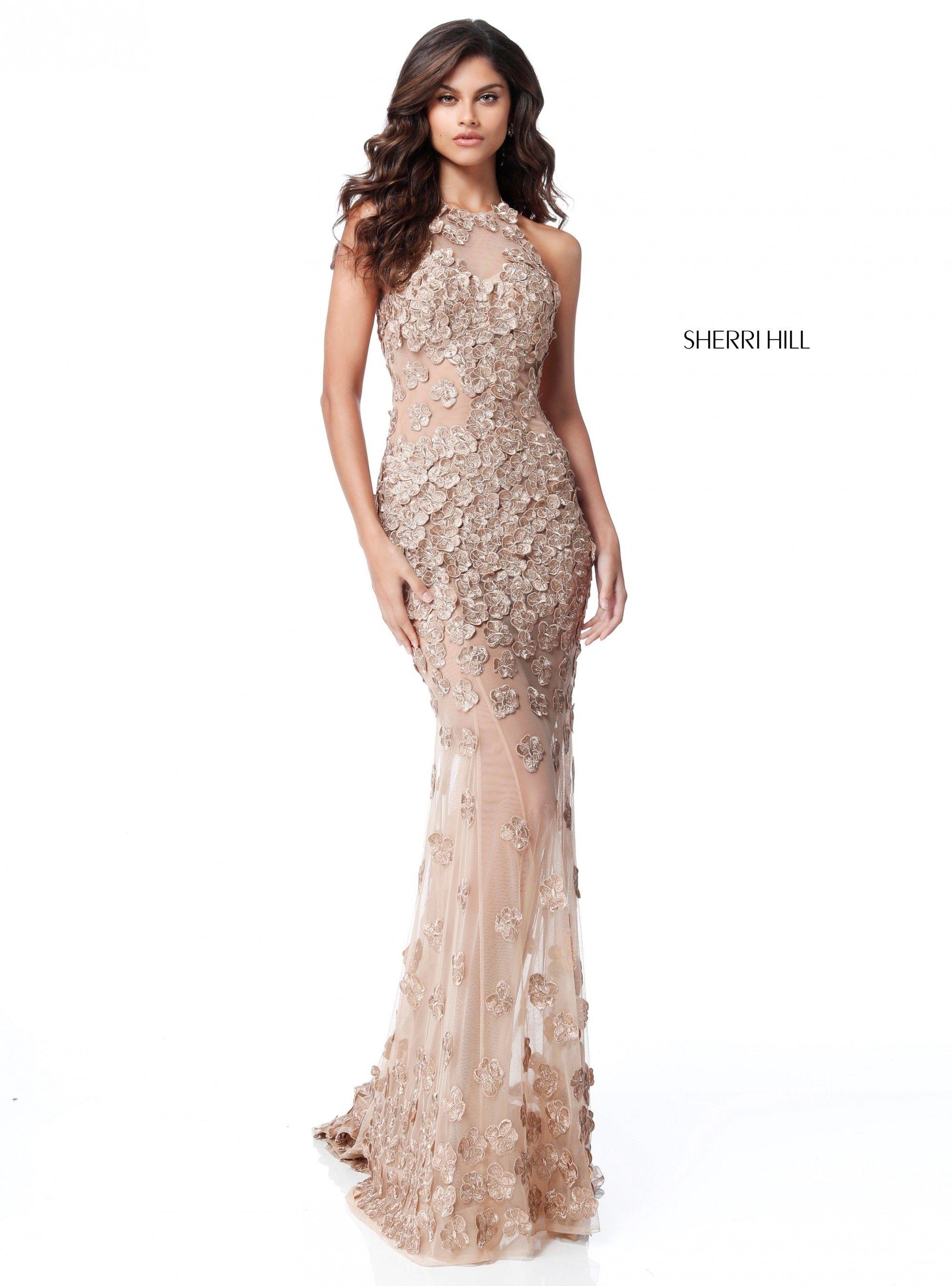 Gold Sherri Hill 51660 Halter Open Back Beaded Net Long Prom Dress