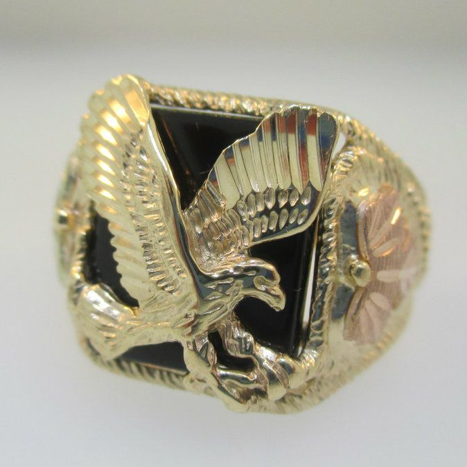 b976a968f2960 10K Yellow Gold Black Hills Gold Eagle Black Onyx Ring Size 10.5 ...