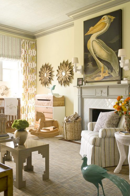 Nursery fireplace pelican painting