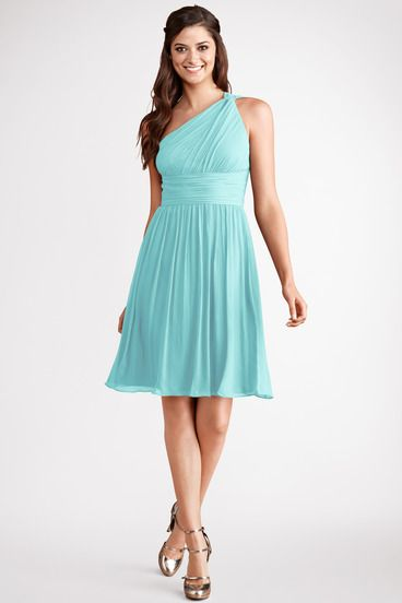 80a27c32d6be Subtle ruching highlights this flowy one shoulder gulf stream chiffon dress  with a flattering set in waist.