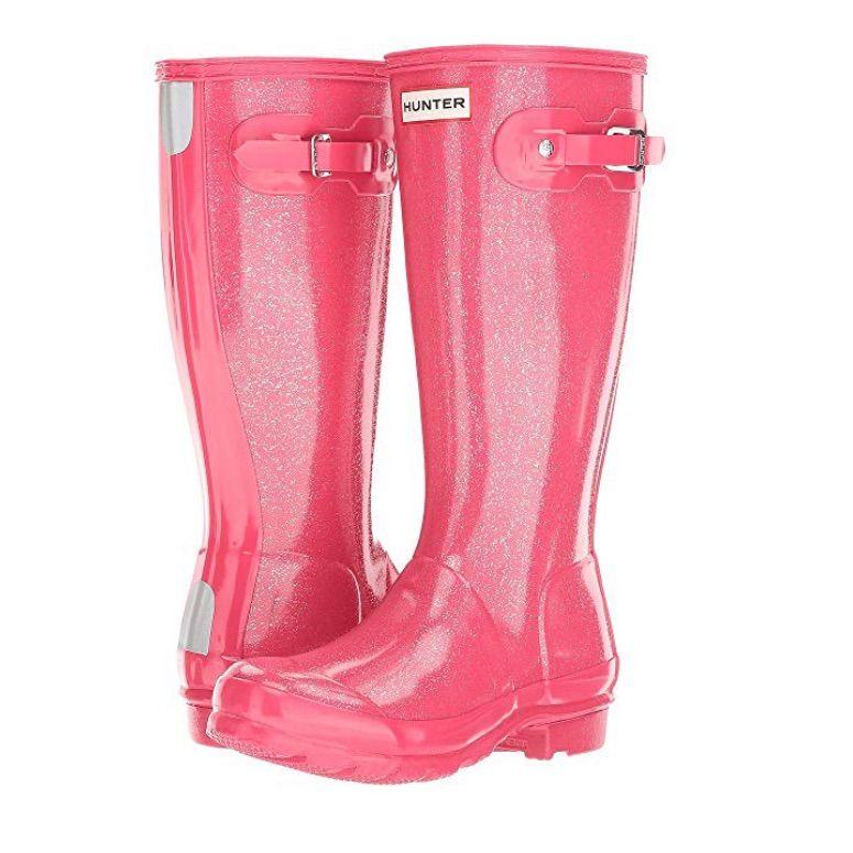 3de2e05f20e3 Hunter Shoes   Hunter Kids Original Glitter Finish Rain Boots   Color:  Pink/Silver   Size: 6g